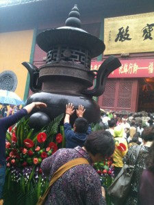 Celebrants honor the Buddha's birthday.